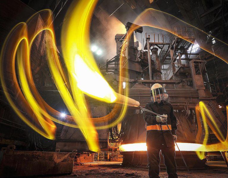Steel worker with molten metal