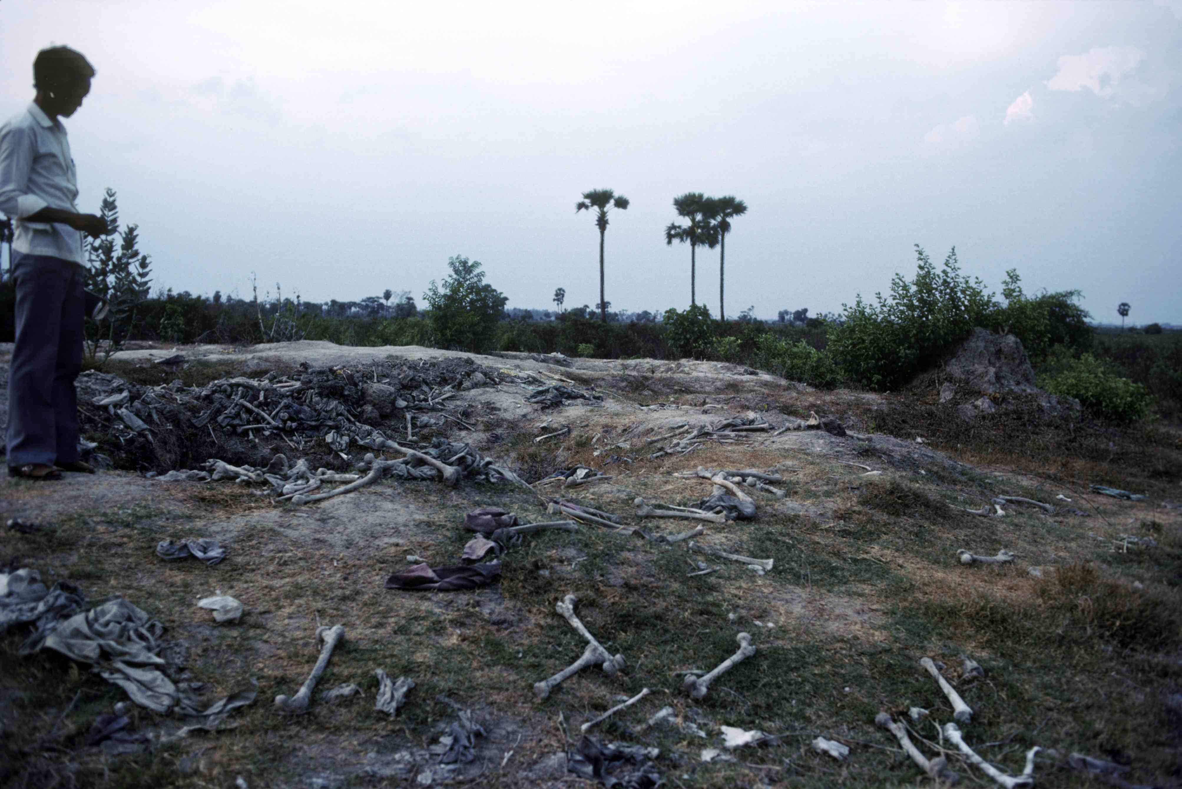 Human remains excavated from the Killing Fields at Choeung Ek outside Phnom Penh, Cambodia, 1983