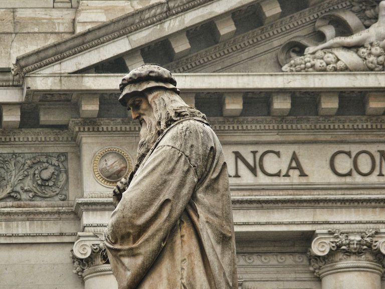 Sculpture of Leonardo Da Vinci at the Scala Square in Milan, Italy