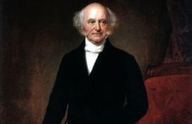 Full color portrait of Martin Van Buren standing in front of a red chair.