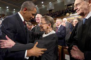 Supreme Court Justice Ruth Bader Ginsburg greeting Barack Obama