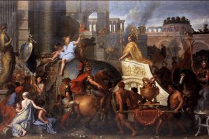 Painting of Alexander Entering Babylon by Le Brun, Charles.