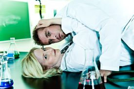 The sexy lab coat is one reason to date a chemist.