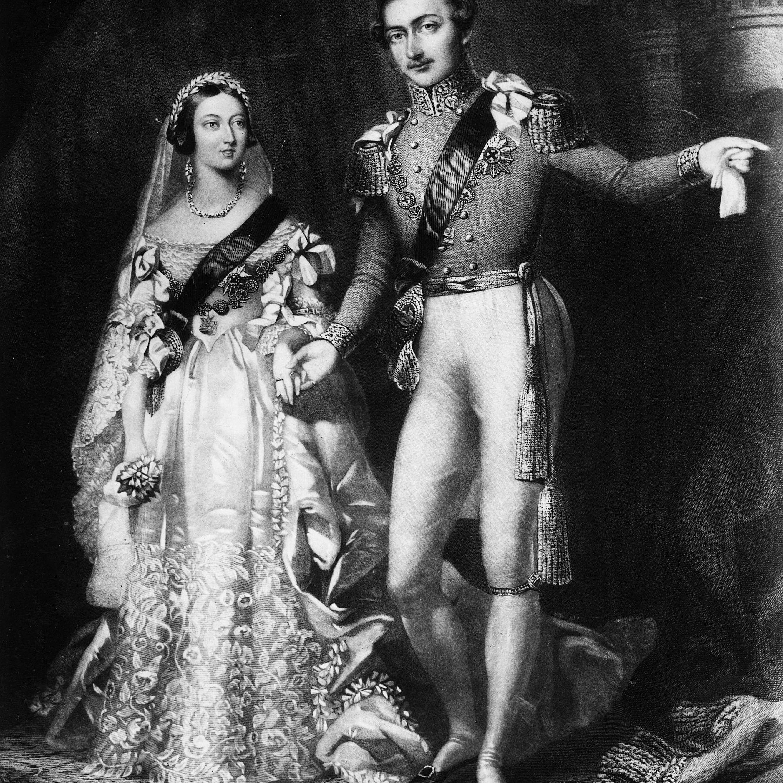 1840年2月10日の結婚式の日のビクトリア女王とアルバート王子。