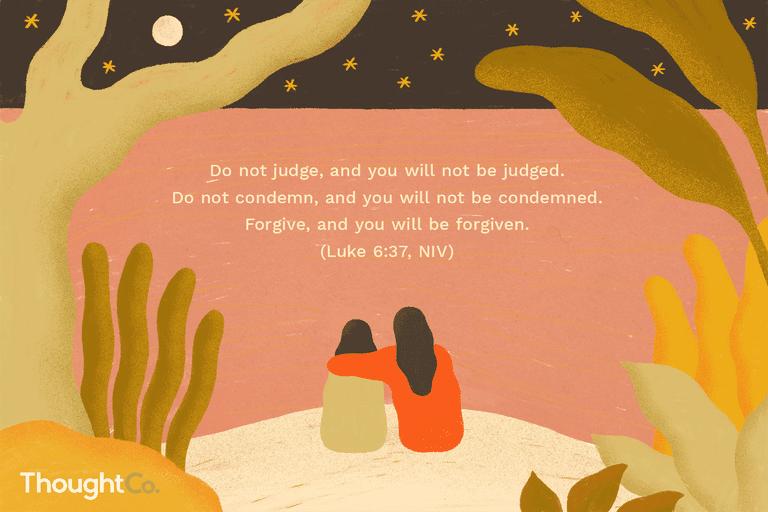 Illustration depicting a Bible verse about forgiveness (Luke 6:37)