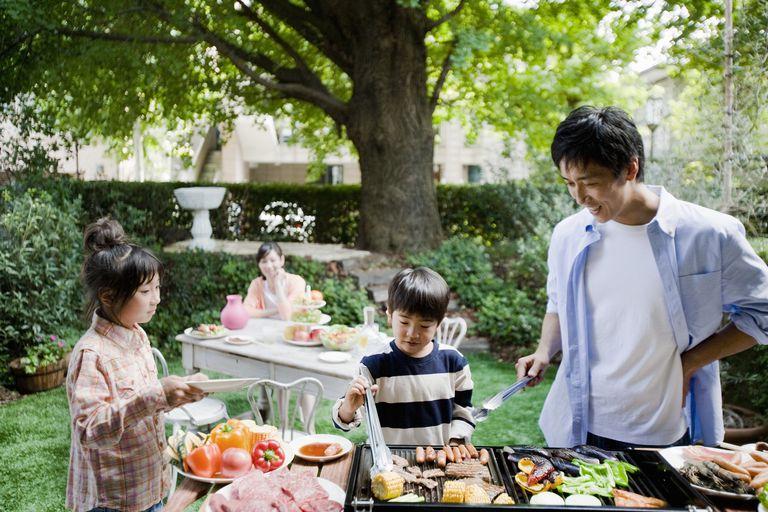 Family BBQing in backyard