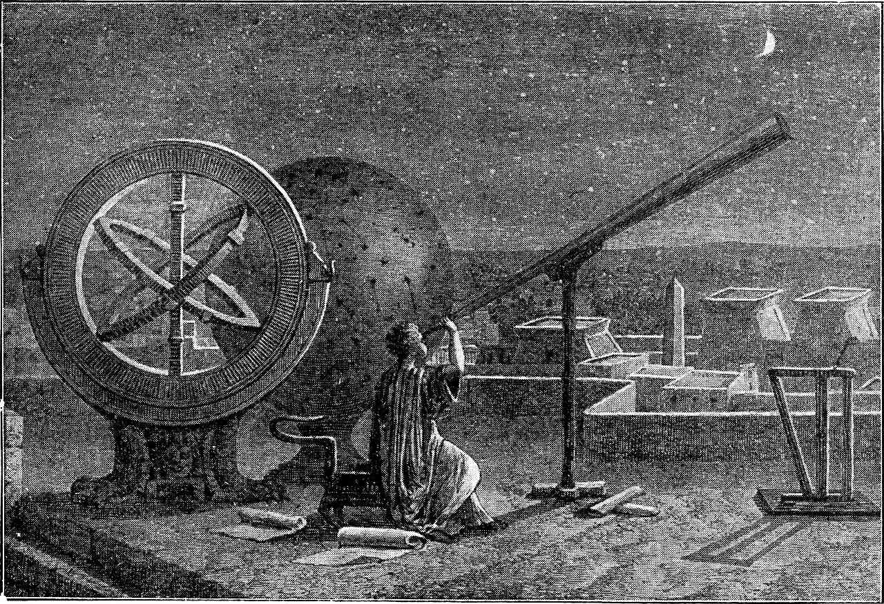 Woodcut Illustration of Hipparchus observing the sky from Alexandria