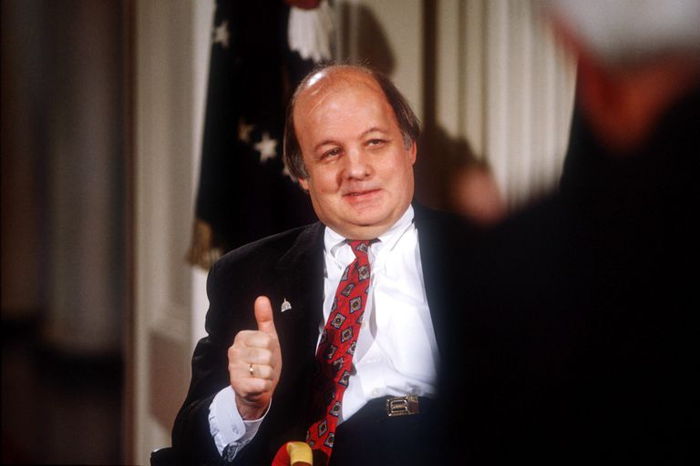 James Brady gives a thumbs up during the signing of the Brady Bill on November 30, 1983, at the White House