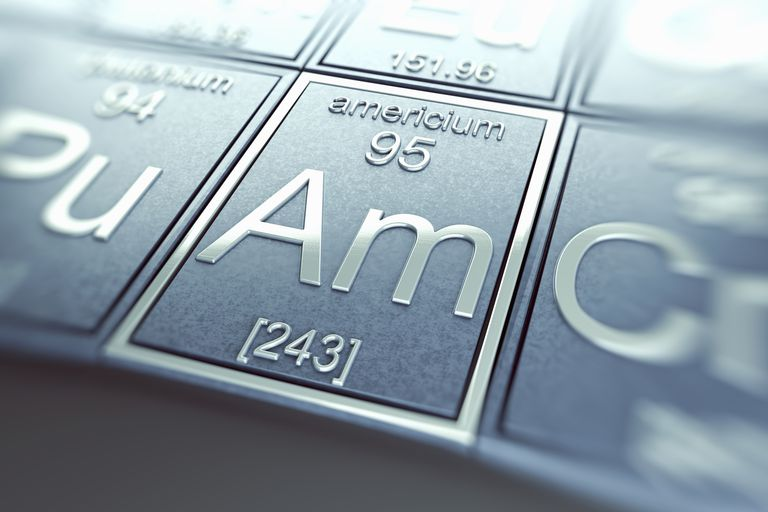 Americium is a silver-colored, radioactive metallic element.