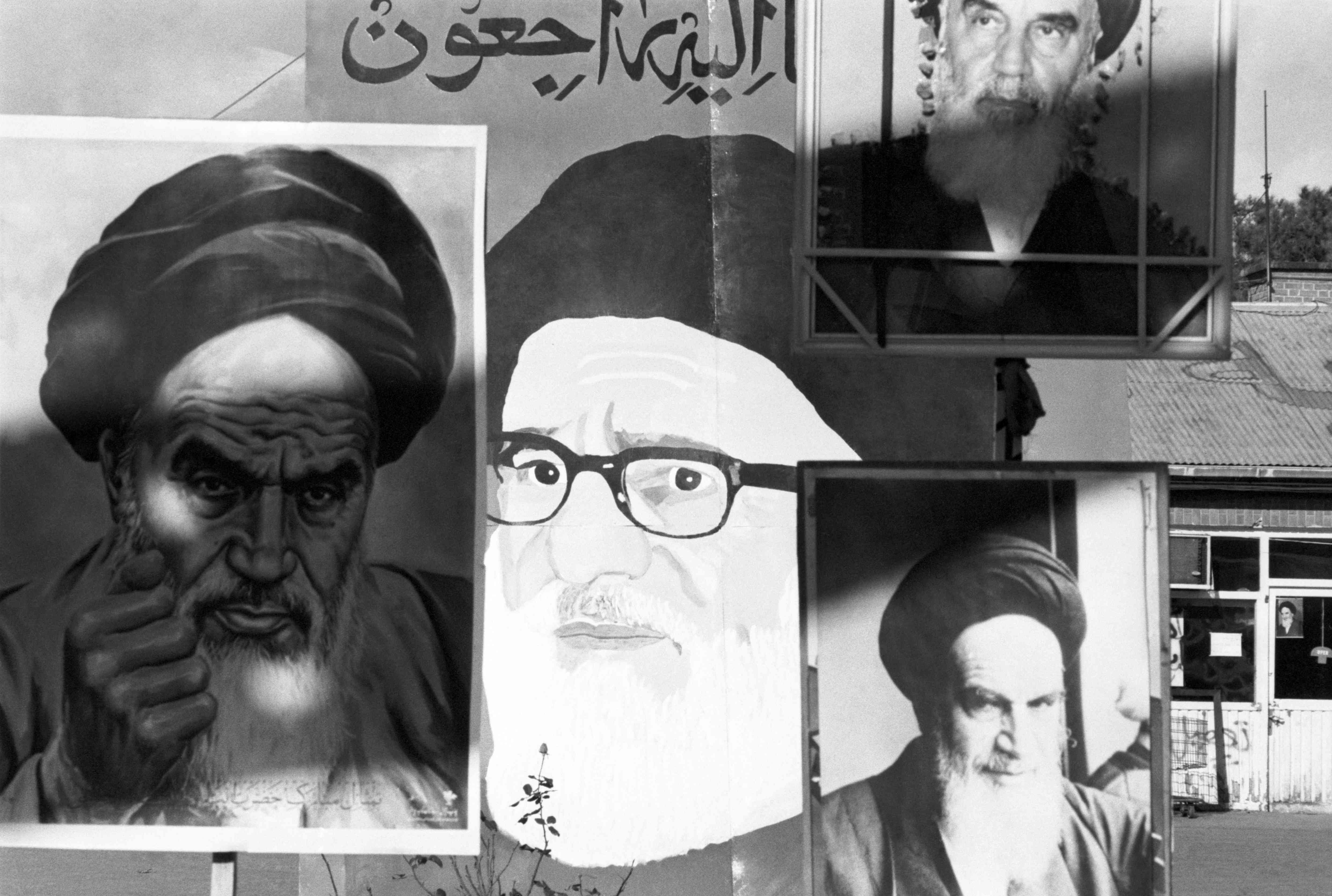 Posters of Ayatollah Khomein are displayed inside the American embassy compound.