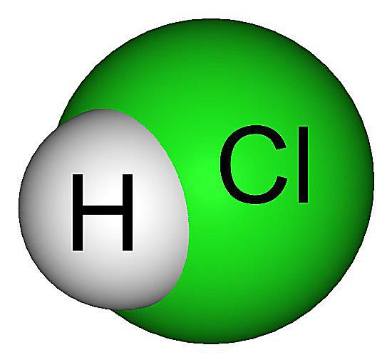 Space-filling model of hydrochloric acid, HCl.