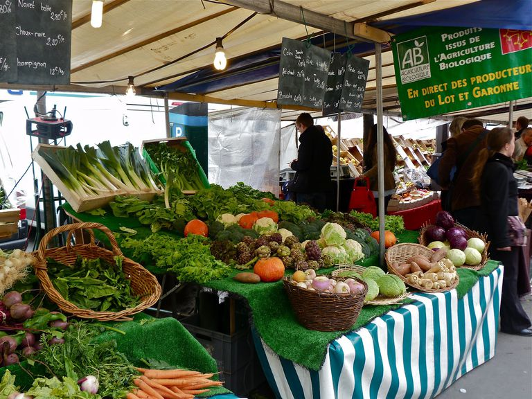 The organic farmer's market in Paris' Batignolles district.