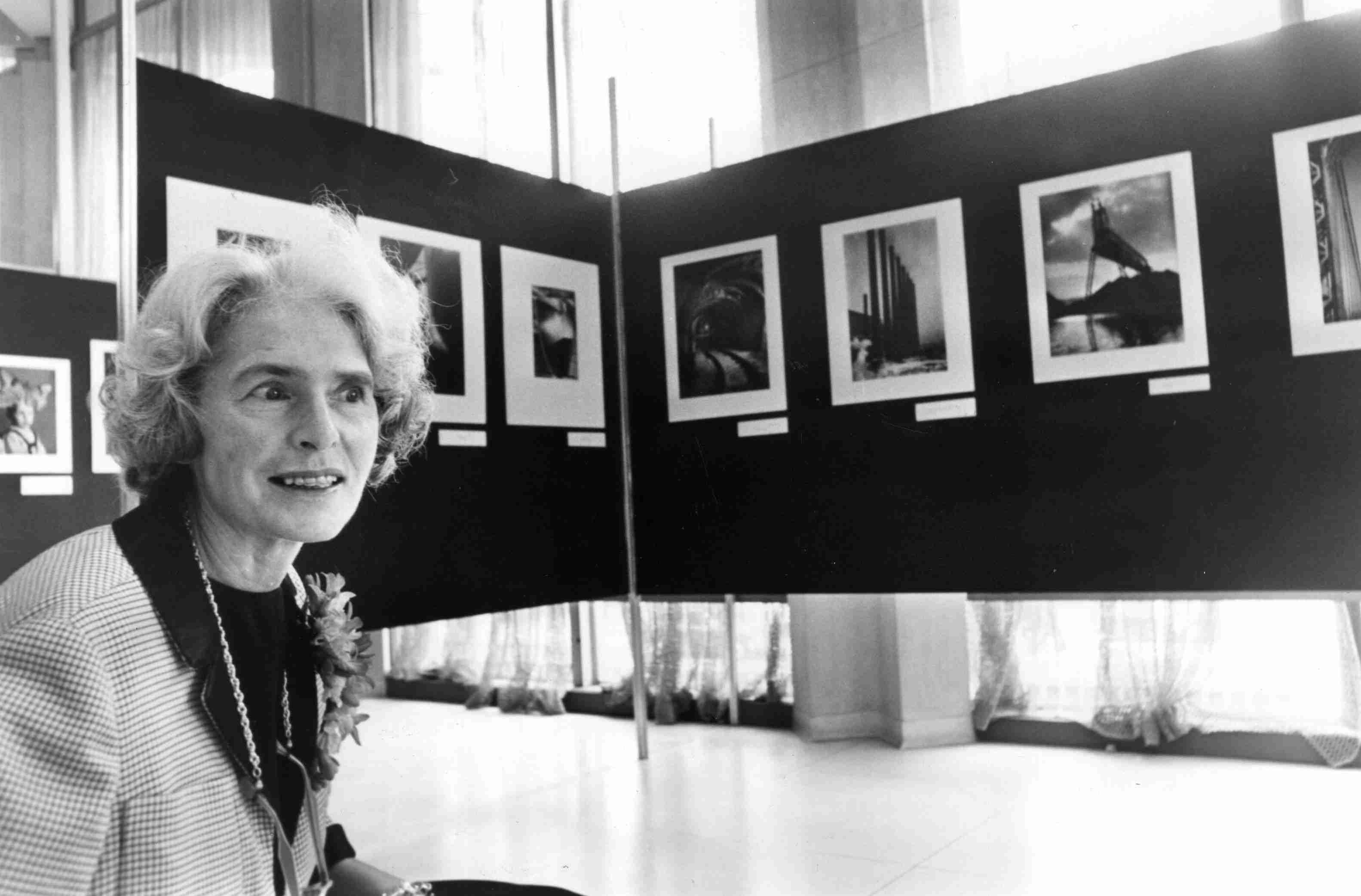 US photojournalist Margaret Bourke-White at an exhibition
