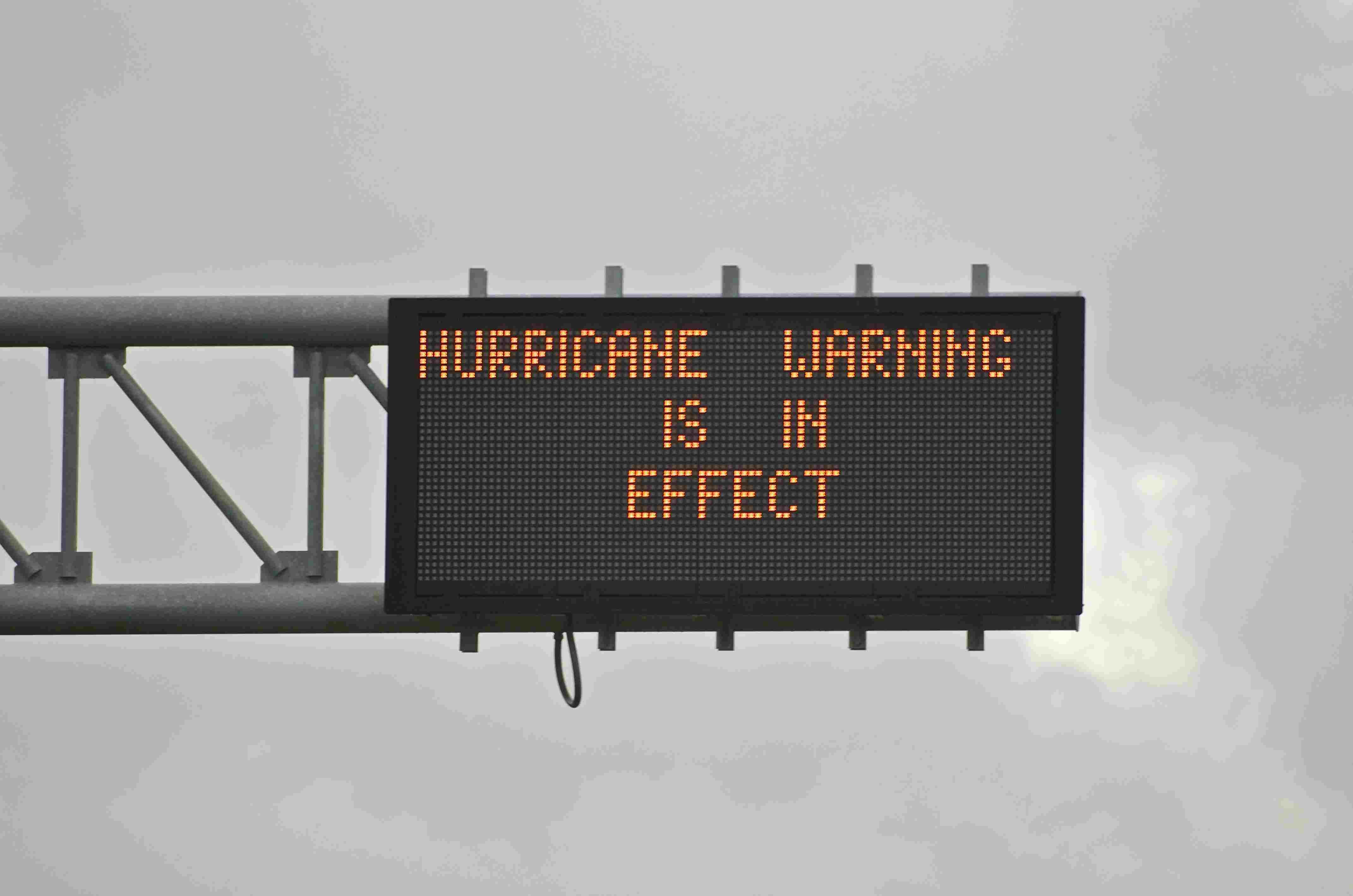 Highway sign displaying Hurricane Warning