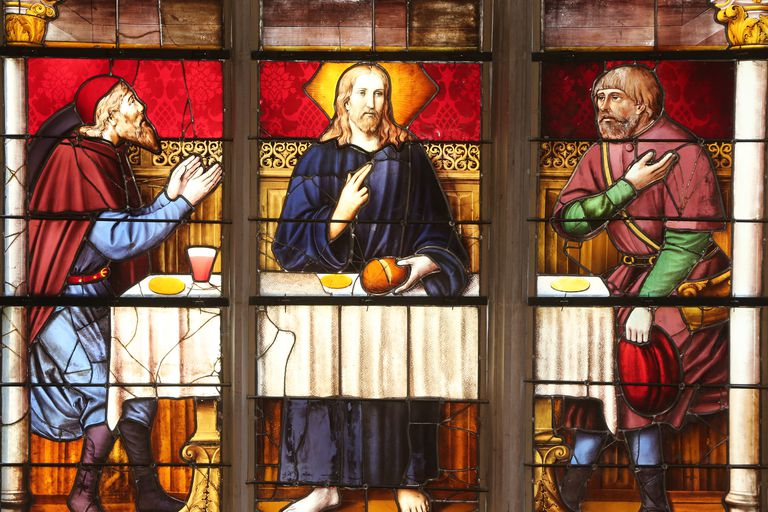 Within The Royal Monastery of Brou is a beautiful stained glass depiction of Jesus Christ appearing to the pilgrims at Emmaus.