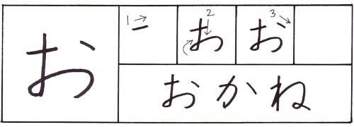how to write the hiragana o character