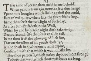 Sonnet 73 in the 1609 Quarto of Shakespeare's sonnets