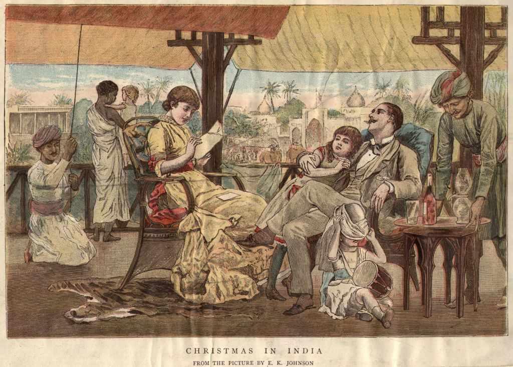 circa 1900: A British family celebrating Christmas in India.