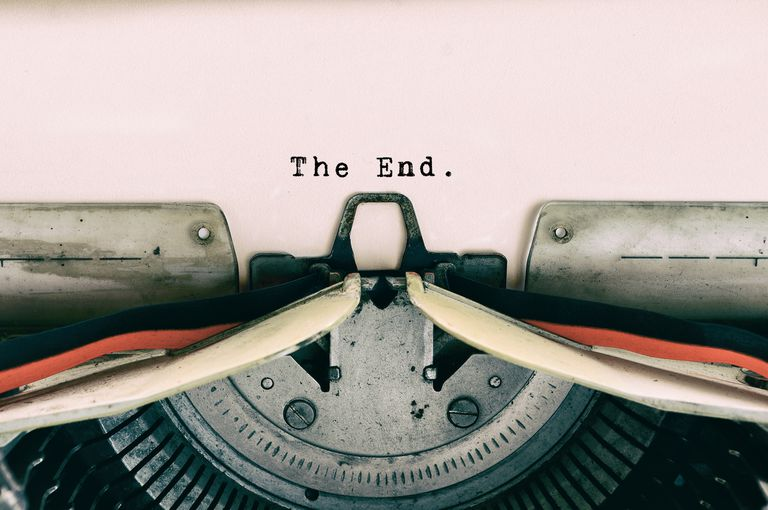 "Typewriter page with the words ""The End"""