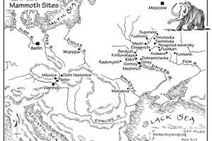 Illustrated map of mammoth bone dwellings.