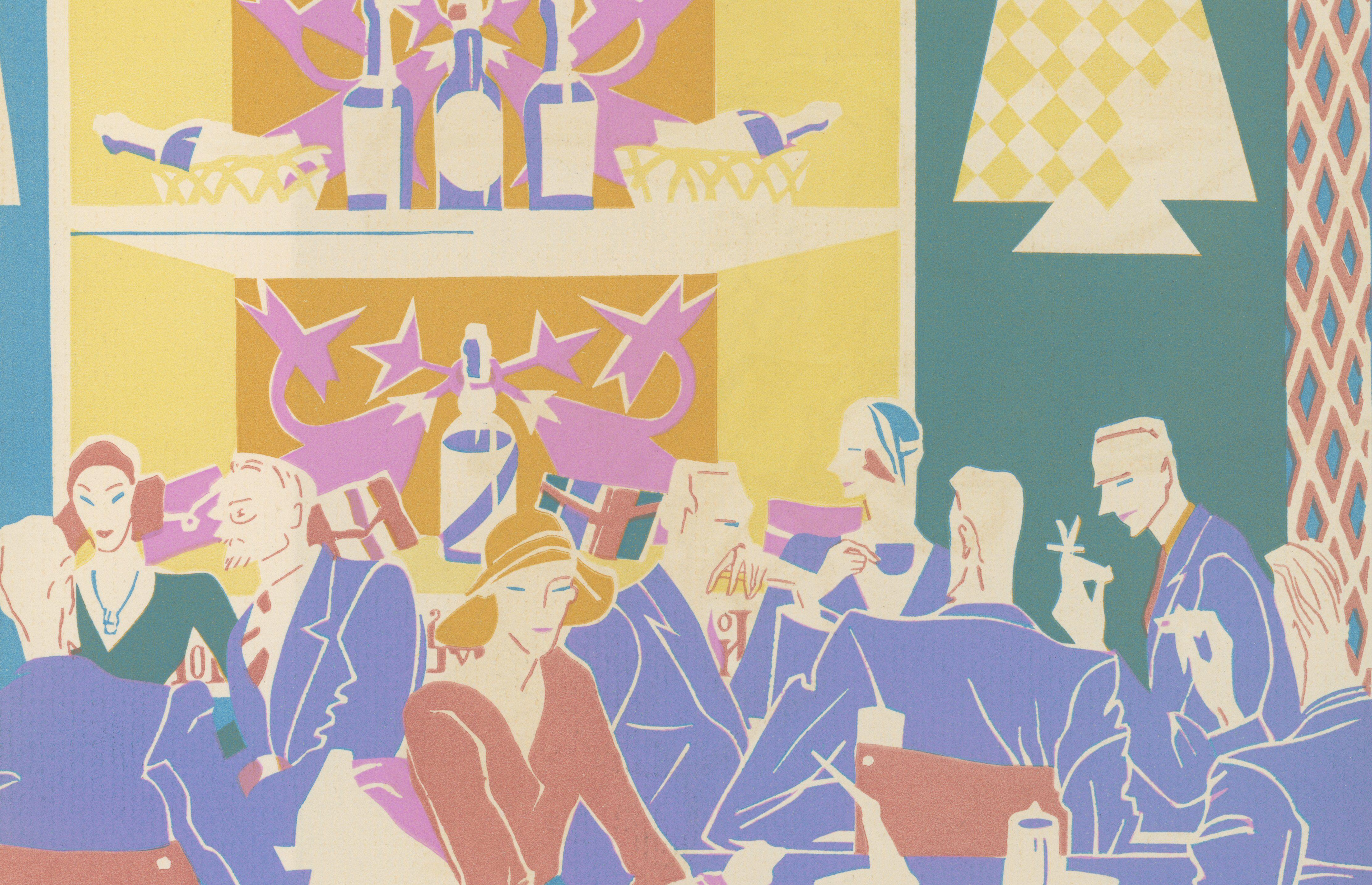 Historische Siebdruckillustration von 1931 von Gästen, die an Tischen in einem Jazzclub im Art-Deco-Stil sitzen