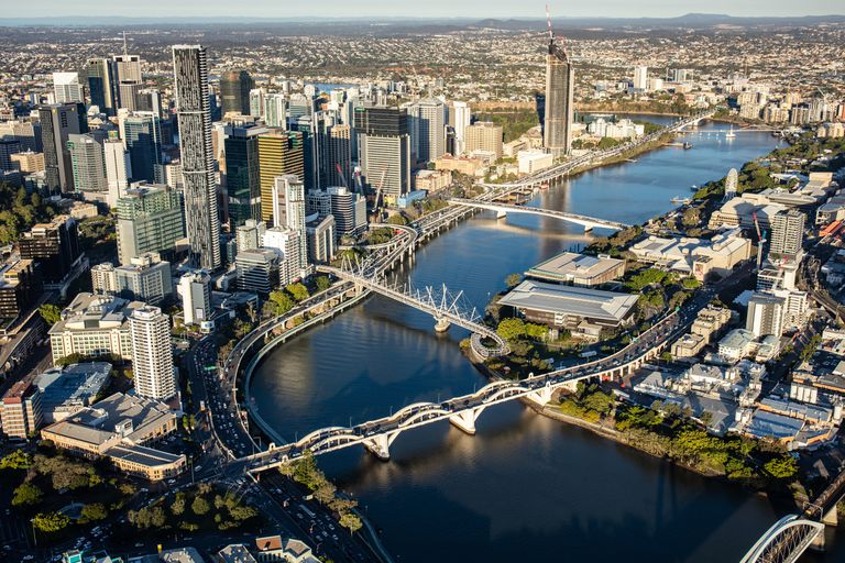 A view of Brisbane city from a helicopter