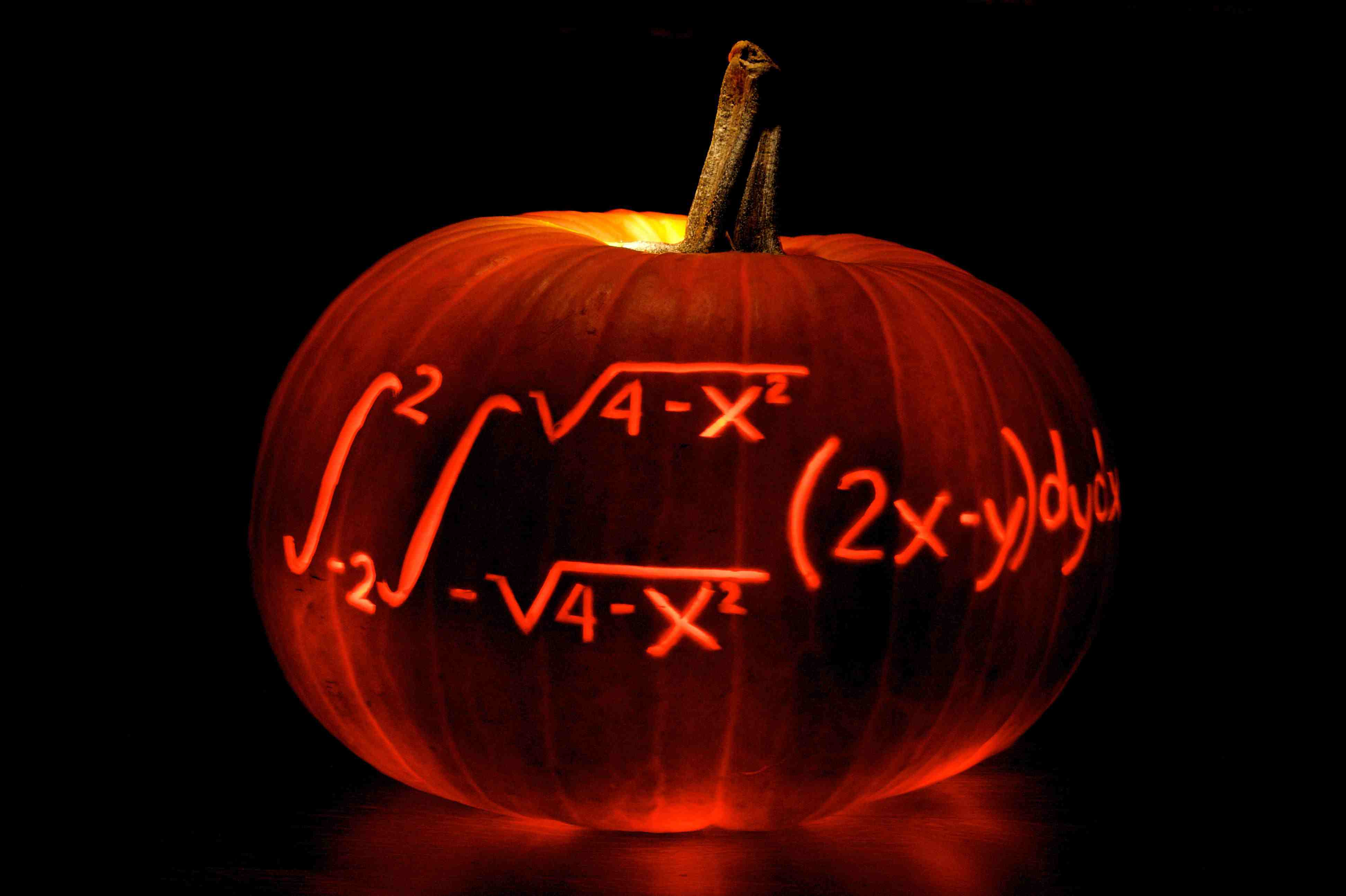 Carved pumpkin with math equation