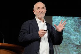 Architect Peter Zumthor addresses an audience at the Guggenheim in 2017