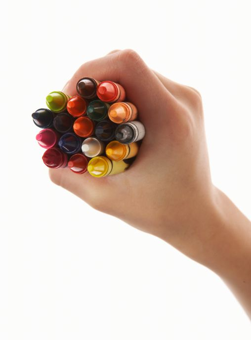 handful of crayons