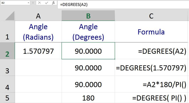Convert Angles From Radians To Degrees In Excel. Converting Angles From Radians To Degrees With Excel's Function. Worksheet. Worksheetfunction Pi At Clickcart.co