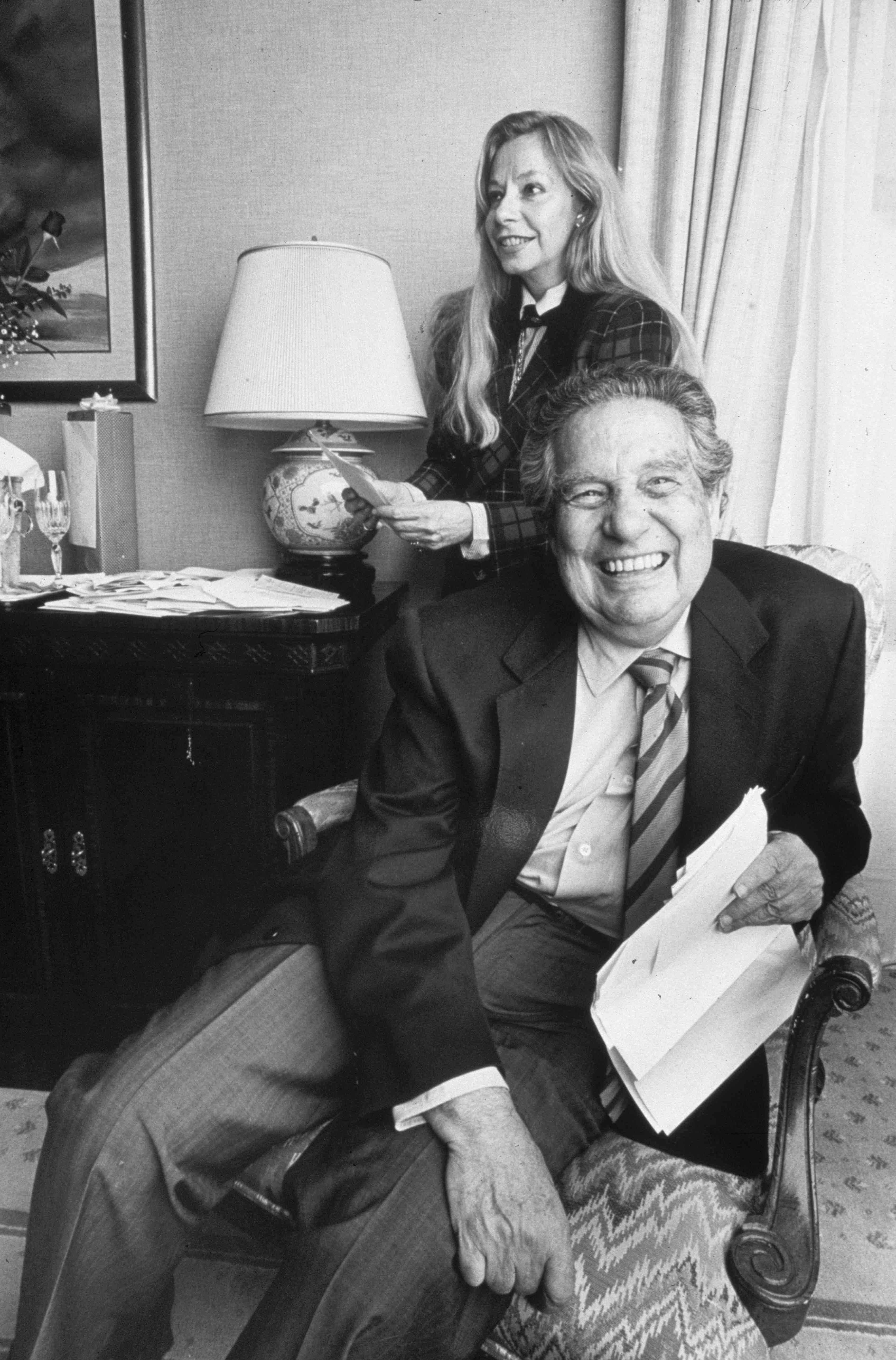 Octavio Paz with his wife Marie-José after winning the Nobel Prize