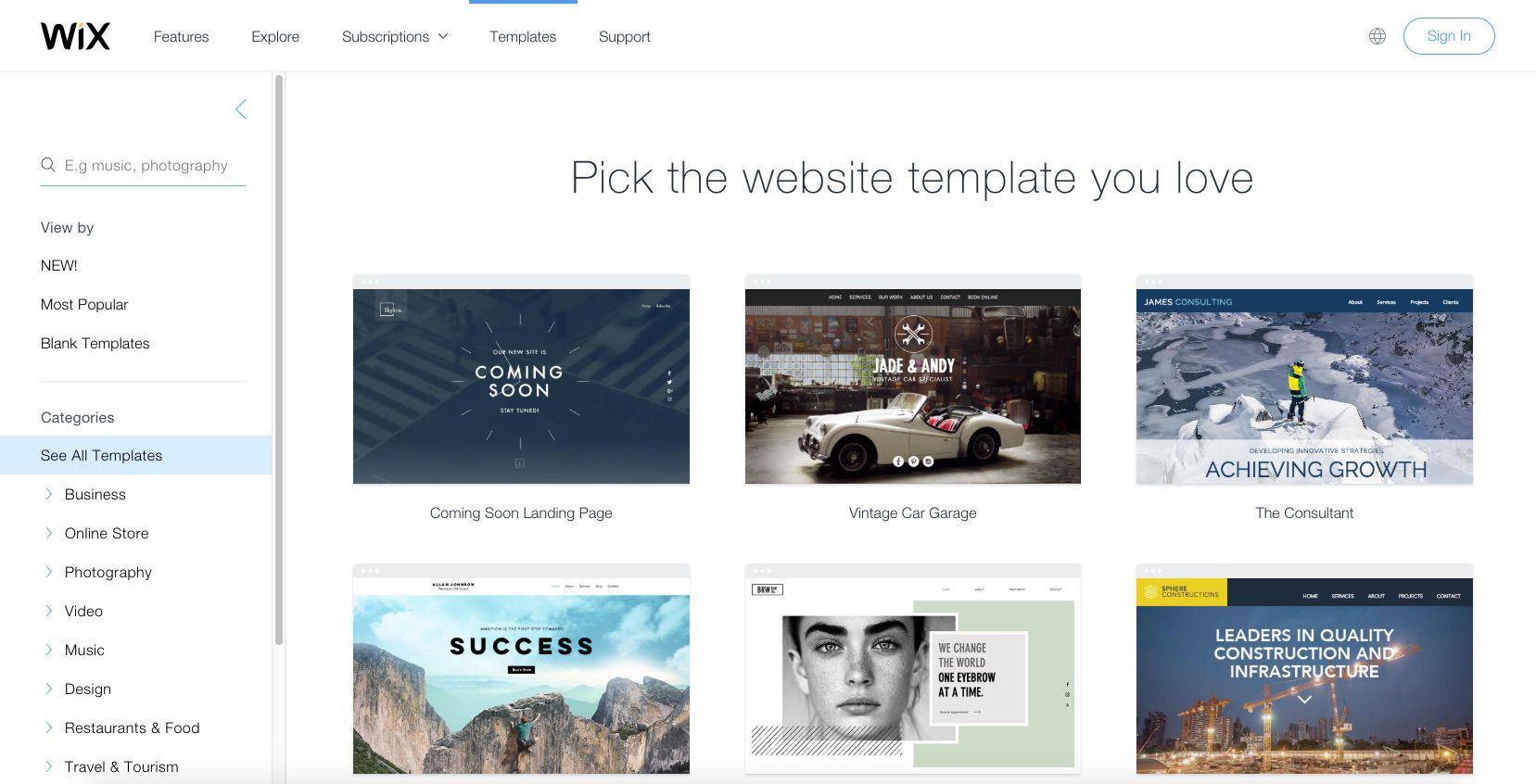 A screenshot of Wix.com.