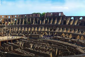 Panoramic View of the Inside of the Roman Colosseum