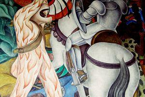 Conquistadors battling Aztecs