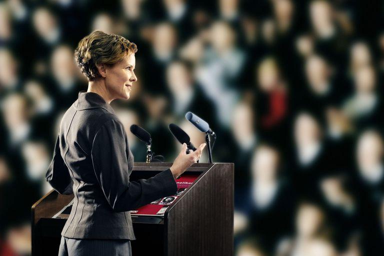 Businesswoman addressing auditorium