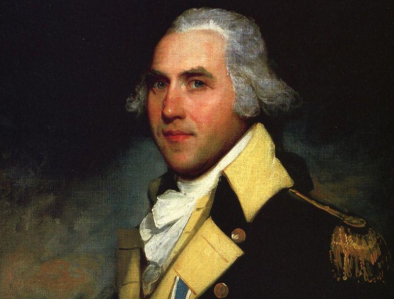 El coronel Peter Gansevoort con un uniforme azul del Ejército Continental con solapas doradas.