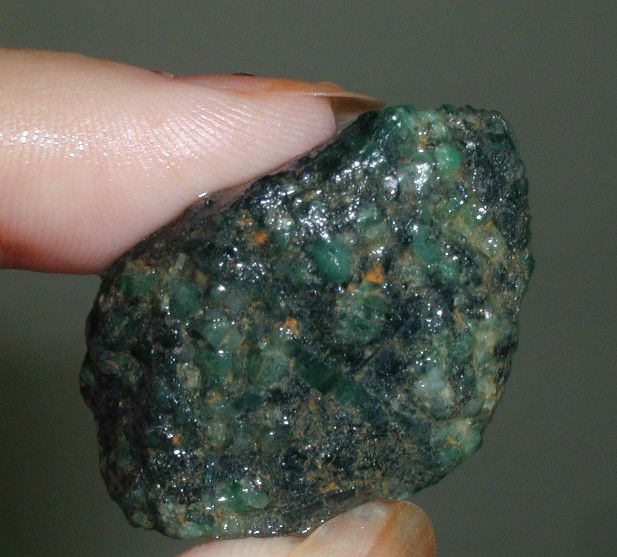 Embedded emeralds from the Emerald Hollow Mine in Hiddenite, NC.