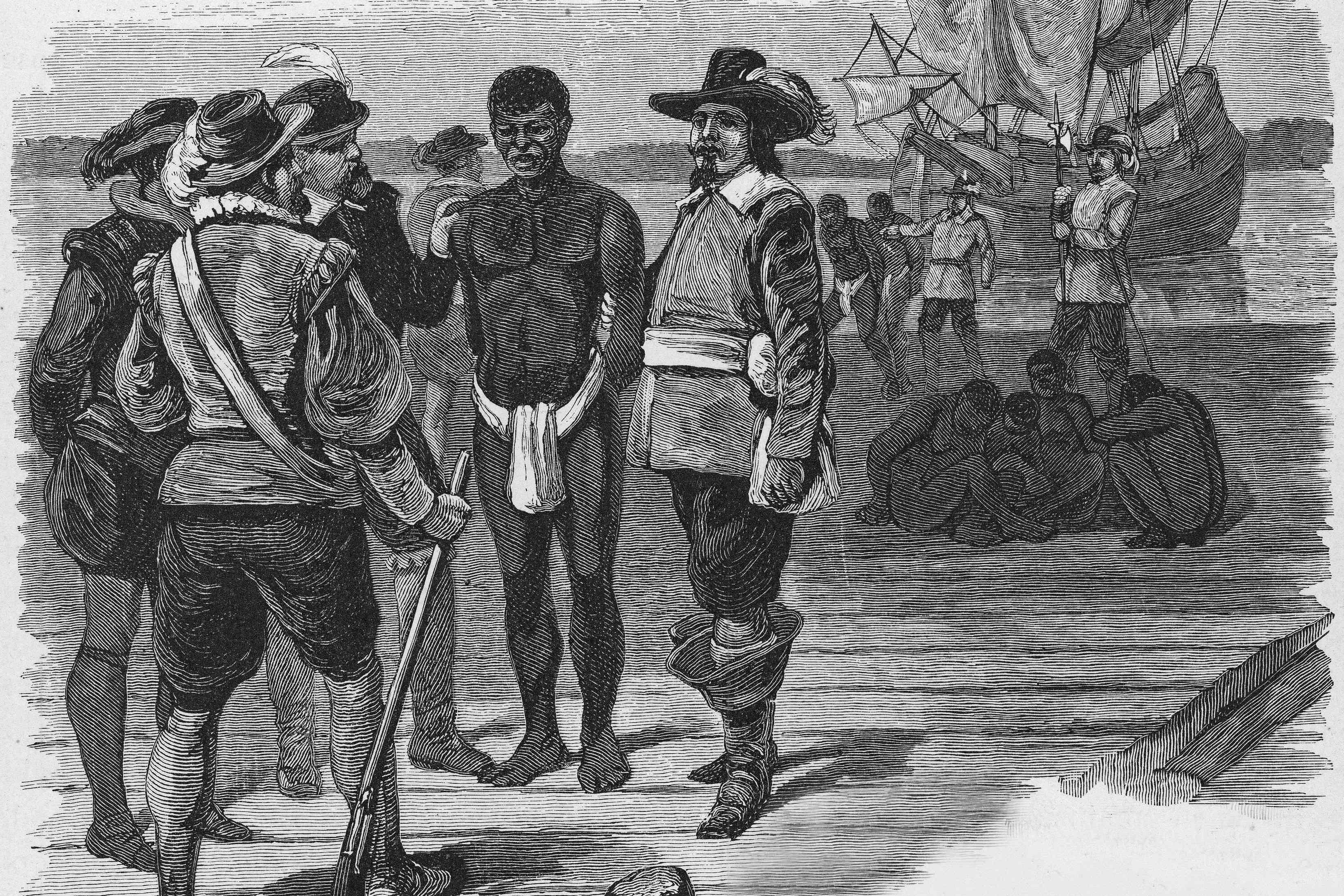 Enslaved people and enslavers standing together at a boat dock