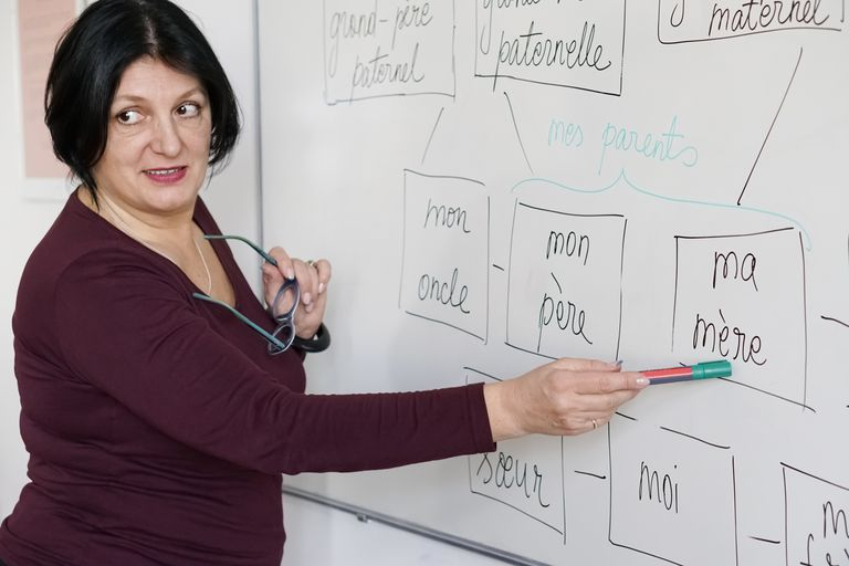 teacher at board with French words
