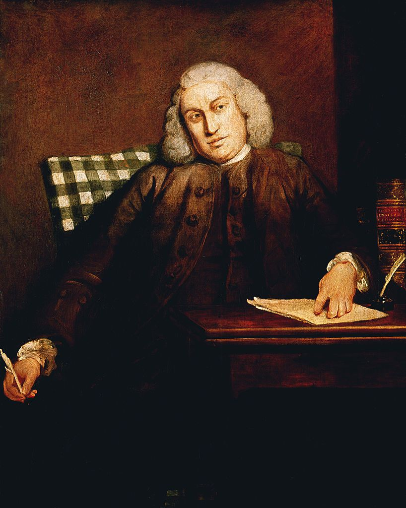 Painting of Samuel Johnson at desk with pen and paper