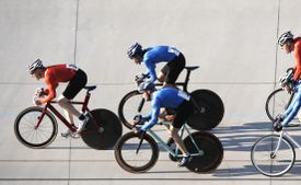 Five bicyclists compete in a race.