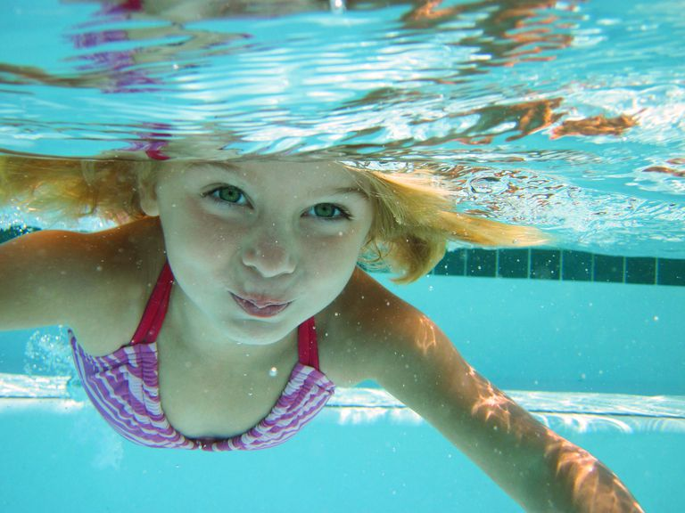 Girl swimming with eyes open