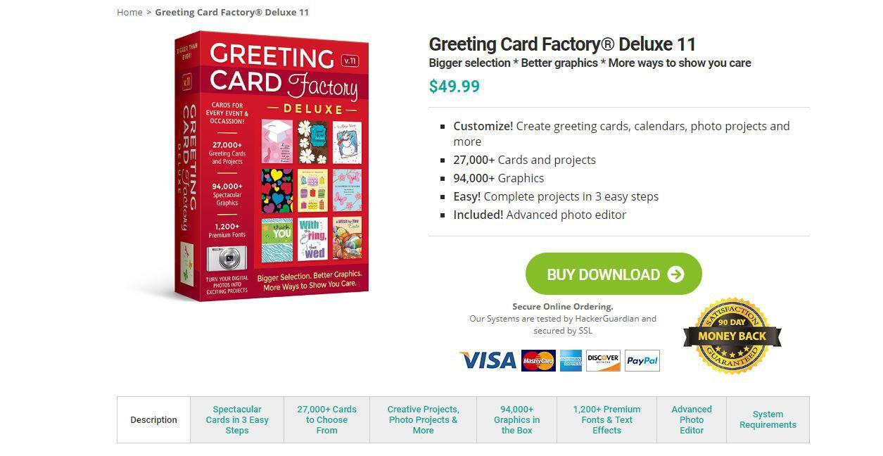 Screenshot of Greeting Card Factory Deluxe website