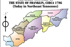 Map showing the eight counties that made up the State of Franklin in 1786.
