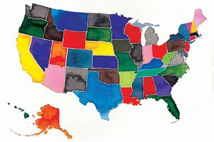 Watercolor Map of United States