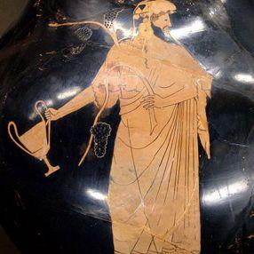 Dionisio sosteniendo un kantharos.  Ánfora de figuras rojas, del pintor de Berlín, c.  490-480 a. C.