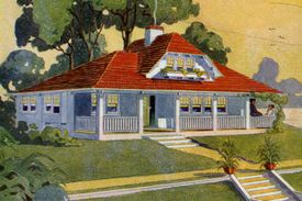 Vintage illustration of a bungalow-style home on a waterfront; screen print, 1913.