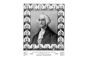Vintage poster of the first 23 U.S. presidents.