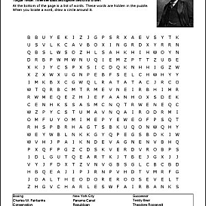 Theodore Roosevelt Wordsearch