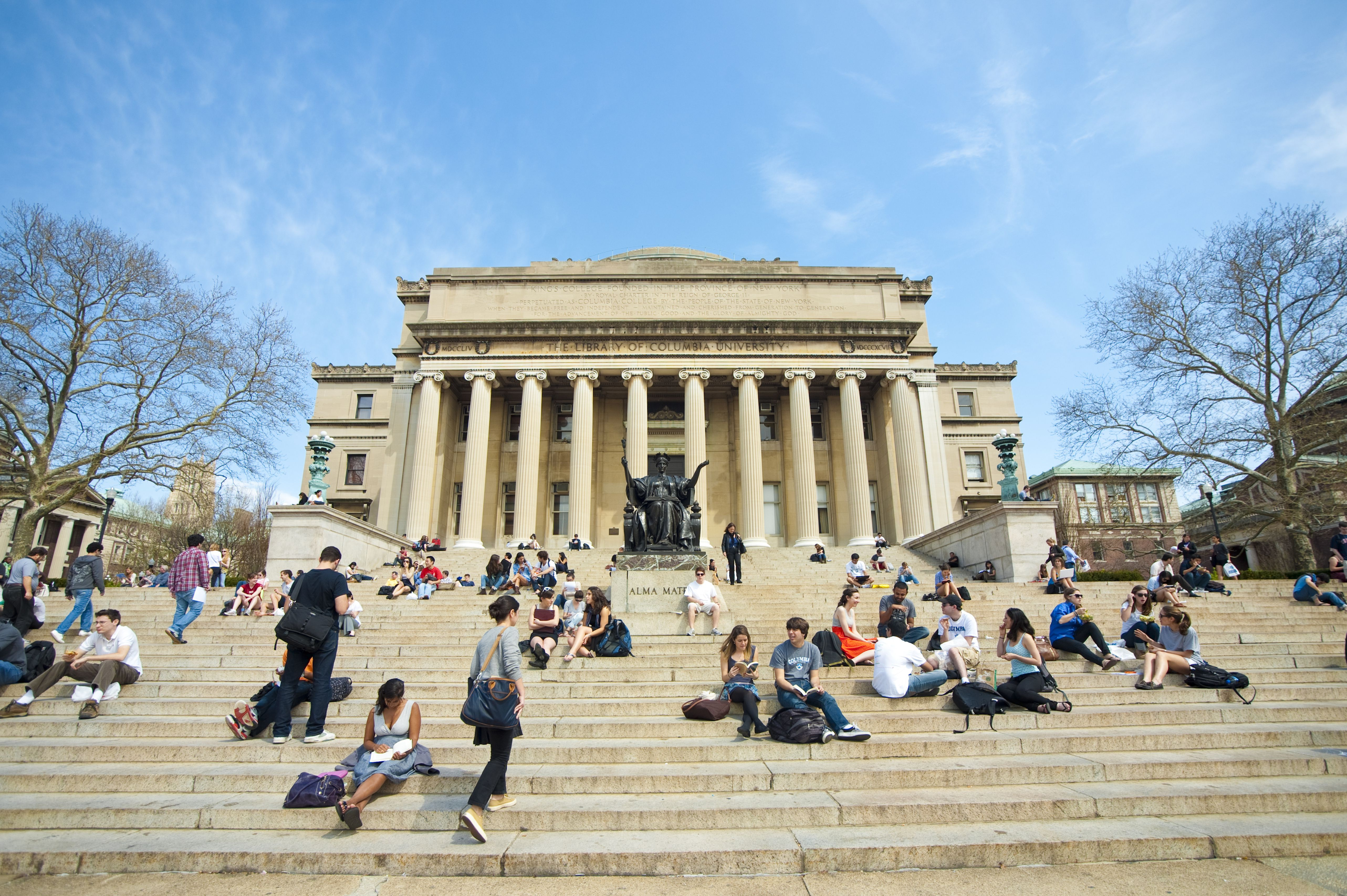 Students In Front Of The Library Of Columbia University, Manhattan, New York, USA